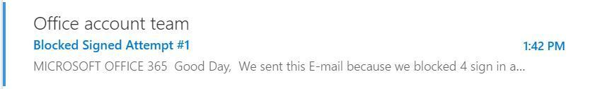 O365 Phishing Email Preview