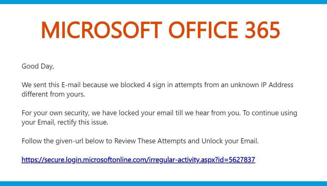 Fake Microsoft Email Phishing Attempt
