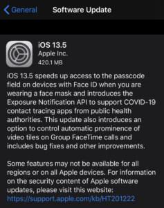 Apple iOS 13.5 Update COVID Exposure Notification